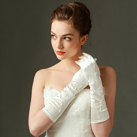 Ericdress Beautiful Flowers Satin Long Wedding Gloves