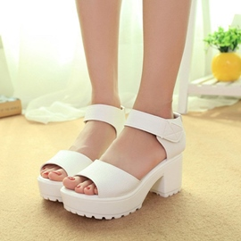 Ericdress Solid Color Peep Toe Chunky Sandals