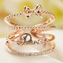 Ericdress Hollow Bowknot Letter Open Ring