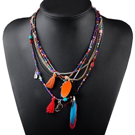 Multilayer Feather Color Beads Necklace