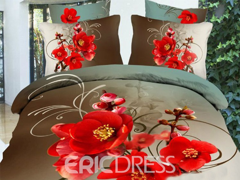 Ericdress Red Plum Blossom Print 3D Bedding Sets 11985938