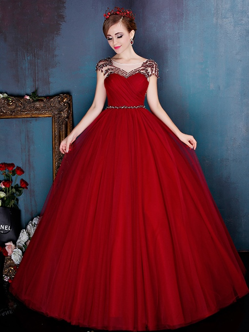Ericdress Ball Beading Pearls Pleats Floor-Length Quinceanera Dress
