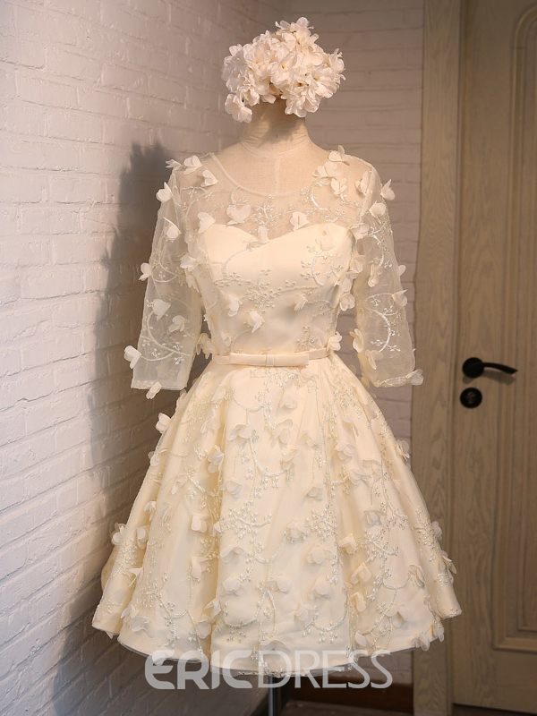 Ericdress Half Sleeves A-Line Scoop Bowknot Sashes Lace Homecoming Dress