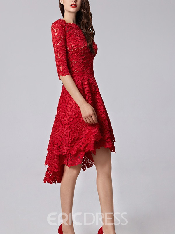 Ericdress Sheath Bateau Half Sleeves Lace Sequins Asymmetry Evening Dress