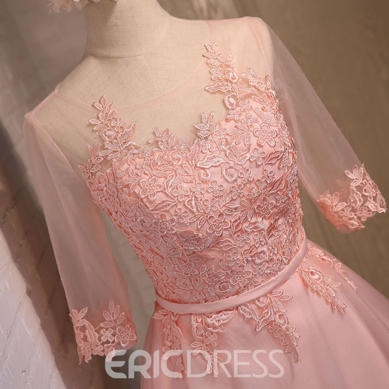 Ericdress A-Line Scoop Half Sleeves Appliques Bowknot Sashes Mini Homecoming Dress