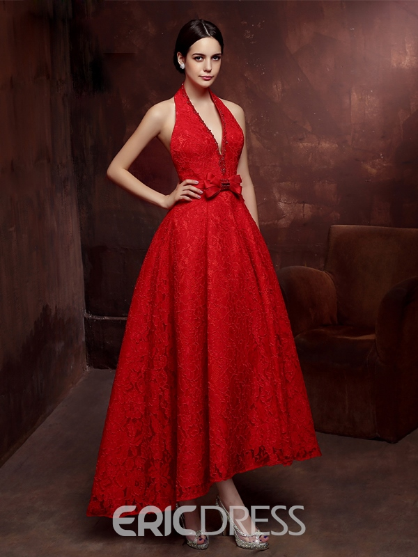 Ericdress A-Line Halter Beaded Bowknot Lace Prom Dress