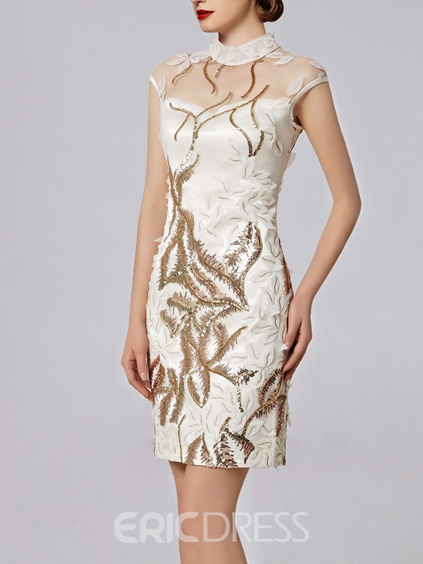 Ericdress High Neck Sheath Cap Sleeves Appliques Sequins Cocktail Dress
