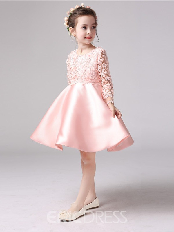 a156bf745d93 Ericdress Ball Gown Long Sleeves Knee Length Flower Girl Party Dress ...