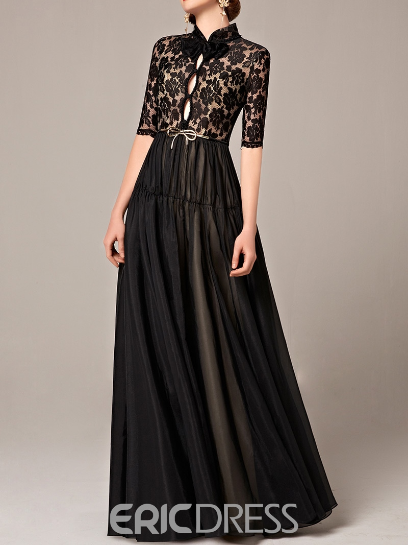 Ericdress Half Sleeves A-Lien High Neck Sashes Lace Floor-Length Evening Dress