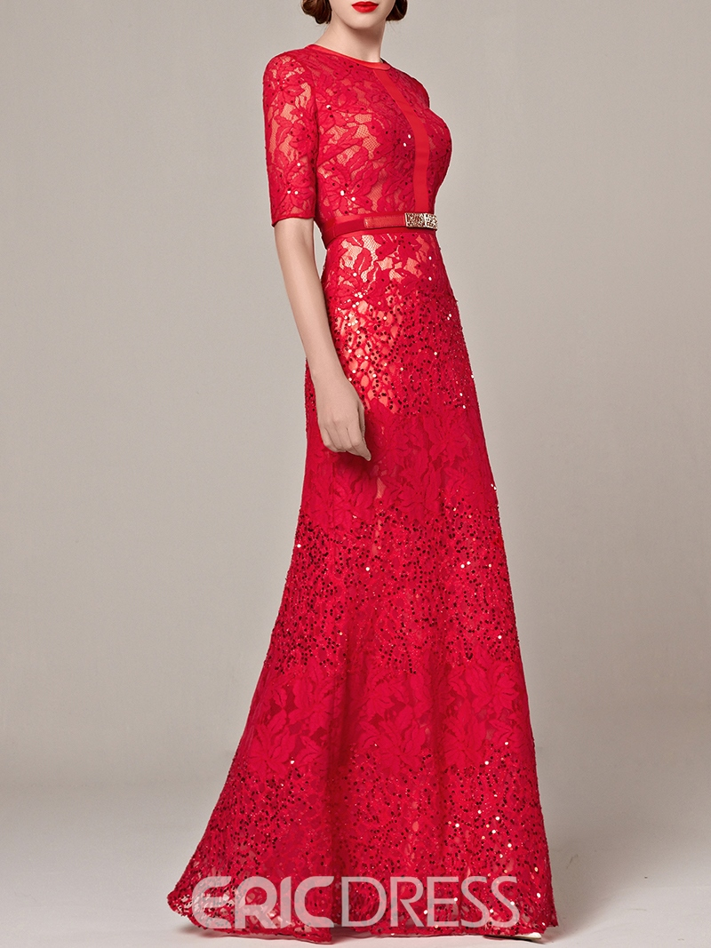 Ericdress Jewel Neck Sheath Half Sleeves Lace Ribbons Sequins Evening Dress