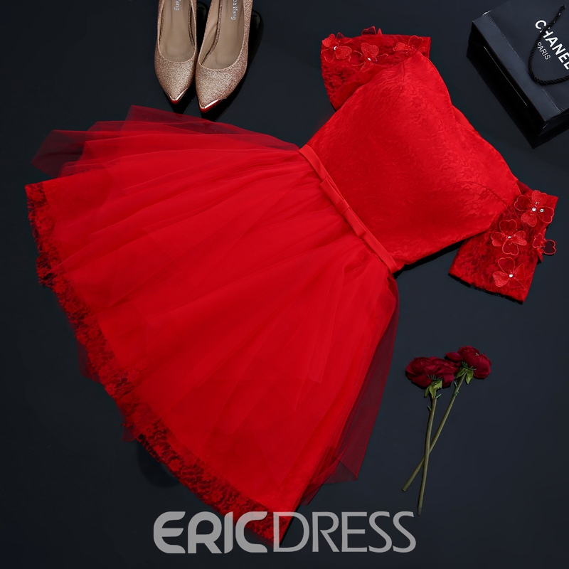 Ericdress Off-the-Shoulder A-Line Lace Flowers Short Homecoming Dress