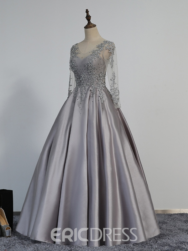 Ericdress A-Line Long Sleeves Evening Dress With Appliques And Beadings