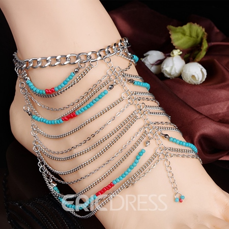 Turquoise Beads Multilayer Tassel Anklets
