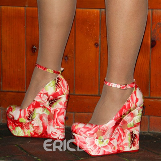 Ericdress Floral Print Ankle Atrap Wedges