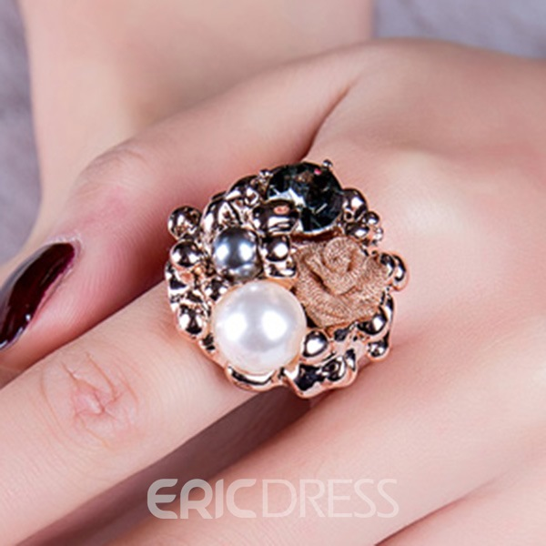 Ericdress Graceful Rose Flower Pearl Ring