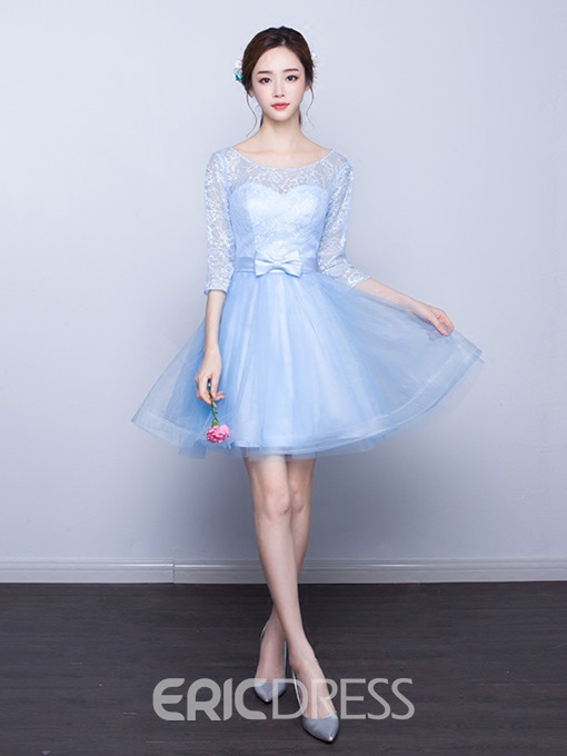 Ericdress Bateau Neck 3/4 Sleeves Bowknot A-line Knee Length Homecoming Dress