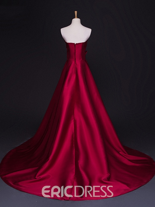 Ericdress A-Line Sweetheart Appliques Beading Evening Dress With Court Train