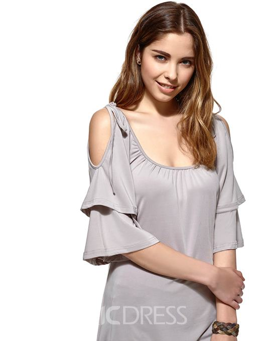 Ericdress Slim Off-Shoulder Wave Cut T-Shirt