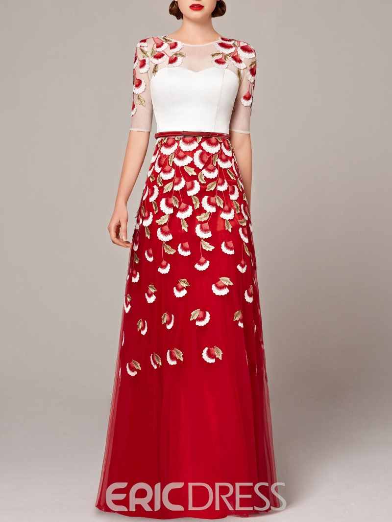 Ericdress A-Line Scoop Half Sleeves Appliques Sashes Evening Dress