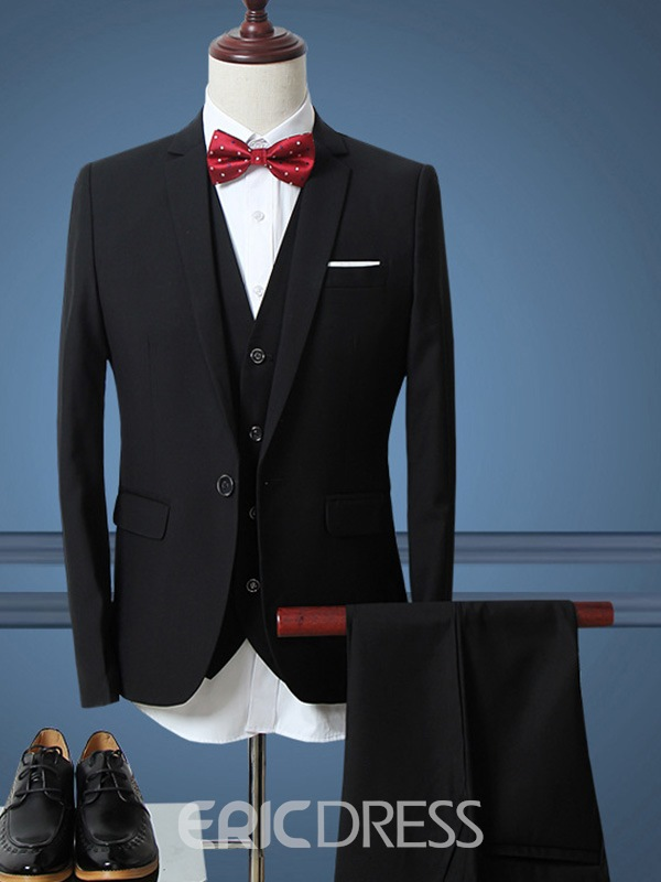 Ericdress Solid Color Three-Piece of Classic Slim Men's Suit