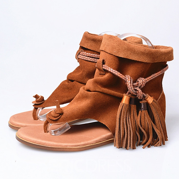 Ericdress Roman Tassels Lace up Flat Sandals