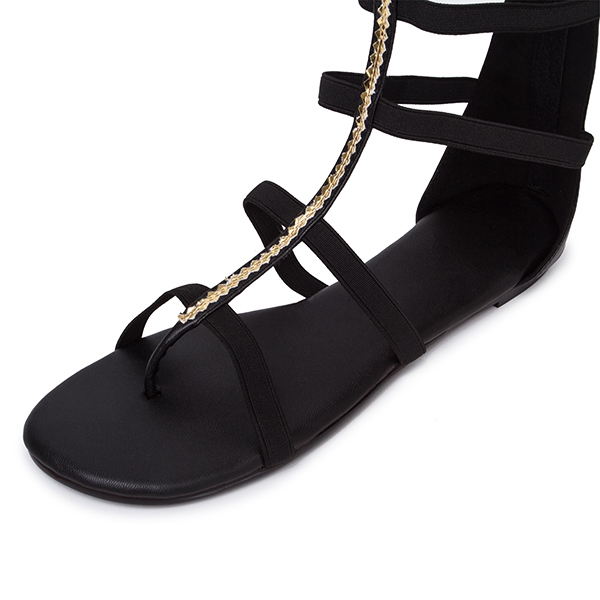 Ericdress Unique Black Hollow-outs Flat Sandals