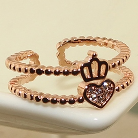 Crown Love Double Row Ring