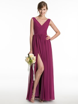 Ericdress Simple V Neck Split Front Long Bridesmaid Dress