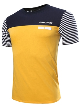 Ericdress Color Block Slim Stripe Men's T-Shirt