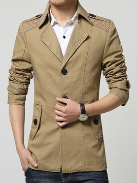Ericdress Patchwork Slim Pocket Vogue Men's Trench Coat