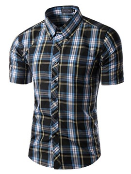 Ericdress Vogue Plaid Short Sleeve Men's Shirt
