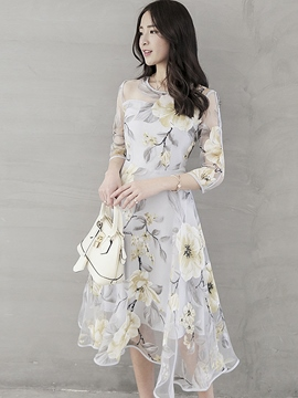 Ericdress Flower Print Expansion Three-Quarter Sleeve Casual Dress