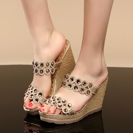 Ericdress Fashion Rhinestone Wedge Sandals