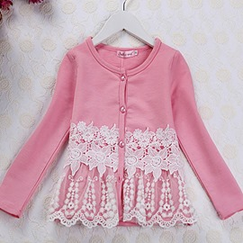 Ericdress Cute Flower Print Mid-Length Girls Outerwear