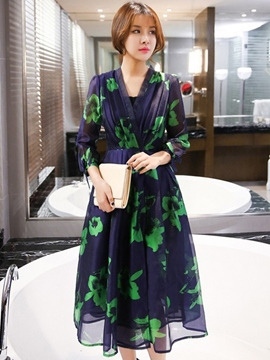 Ericdress Ladylike Organza Expansion Print Casual Dress