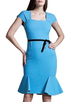 Ericdress Squre Collar Lace-Up Bodycon Dress