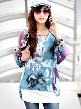 Ericdress Loose Printed Floral Bohemia Blouse
