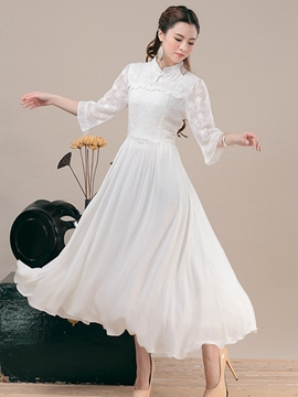 Ericdress Vintage Soild Color Expansion Chinese Collar Maxi Dress
