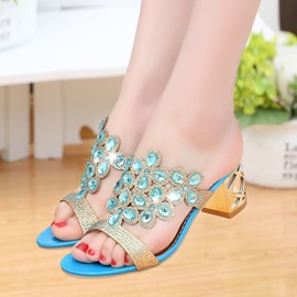 Ericdress Luxurious Rhinestone Square Heel Mules Shoes