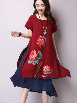 Ericdress Ethic Double-Layer Print Loose Casual Dress