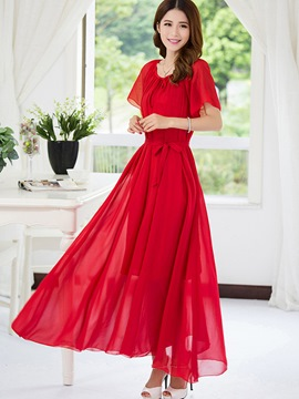 Ericdress Chiffon Solid Color Pleated Expansion Maxi Dress