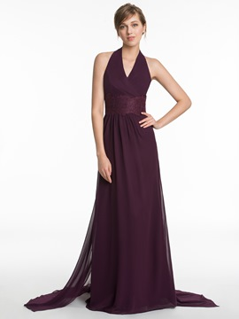 Ericdress Charming Halter A Line Long Bridesmaid Dress