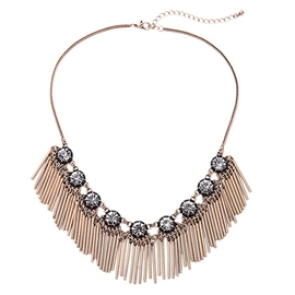 Short Shining Gem Tassel Necklace