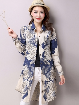Ericdress Slim Pocket Printed Floral Blouse