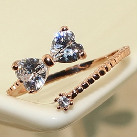 Bowknot One Size Imitation Diamond Ring