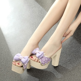 Ericdress Delicate Bowtie Chunky Mules Shoes