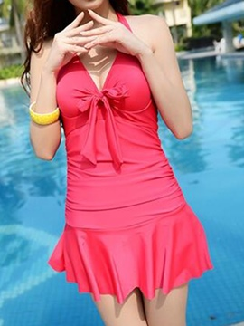 Ericdress Solid Color V-Neck Halt Swimwear