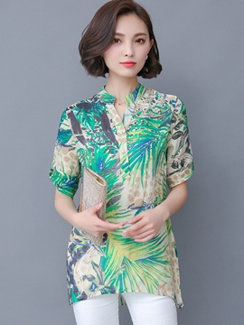 Ericdress Casual Slim Printed Floral Blouse