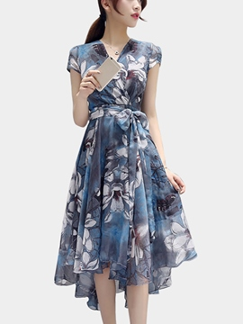 Ericdress Flower Print Lace-Up Asymmetric Short Sleeve Maxi Dress