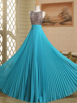 Ericdress Round Neck A-Line Beading Ruched Long Prom Dress